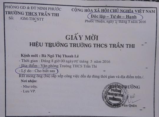 Giấy mời sai quy định, cẩu thả của Trường THCS Trần Thi