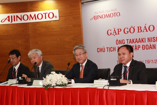Chủ tịch tập đoàn Ajinomoto Việt Nam (thứ 2 ừ phải qua) đánh giá Việt Nam vẫn là thị trường hấp dẫn trong mắt nhà đầu tư Nhật