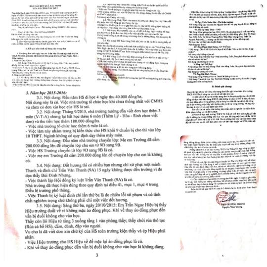 kết quả xác minh điều tra của cơ quan chức năng huyện Vũ Thư theo tố cáo của các em học sinh