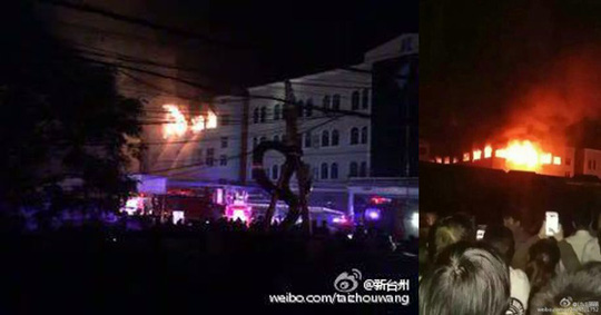 Hình ảnh hiện trường máy bay đâm vào nóc khu nhà xưởng tối 11-5. Ảnh: WEIBO