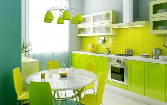 Màu xanh lá cây thúc đẩy tương sinh cho căn bếp.