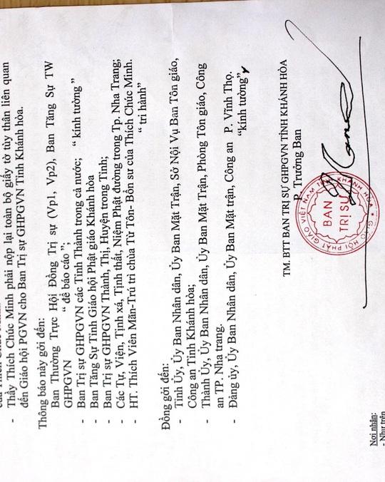 Thông báo không chấp nhận ông Thích Chúc Minh là thành viên tăng của Giáo hội Phật giáo Việt Nam tỉnh Khánh Hòa