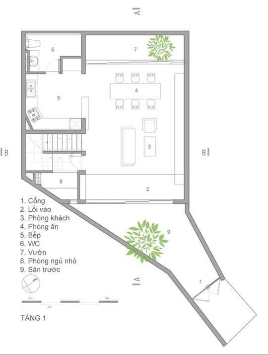 Nhà sang trọng trong hẻm xây dựng trên mảnh đất méo