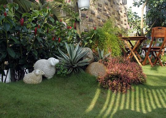 Một diện tích khá lớn không xây dựng được dùng làm sân vườn.