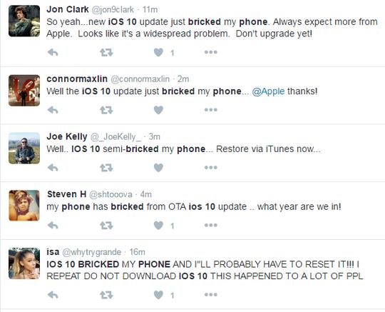 Hàng loạt trường hợp iPhone bị treo khi đang nâng cấp iOS 10. Ảnh chụp màn hình.