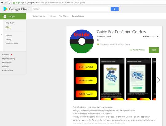 Guide for Pokemon Go, phần mềm gián điệp độc hại đã xuất hiện trên kho ứng dụng Google Plays.