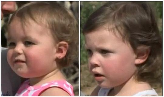 Adison Jenkins (trái, 1 tuổi) và Emma Jenkins (phải, 2 tuổi) may mắn được Kiera cứu mạng kịp thời và chỉ bị trầy xước nhẹ. Ảnh: Fox 5