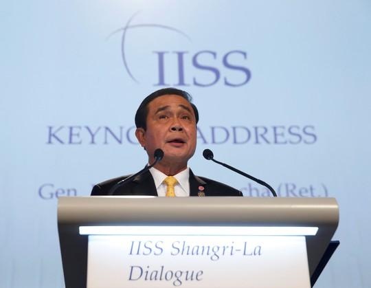Thủ tướng Thái Lan Prayuth Chan-ocha phát biểu tại Đối thoại Shangri-La 2016 hôm 3-6. Ảnh: REUTERS