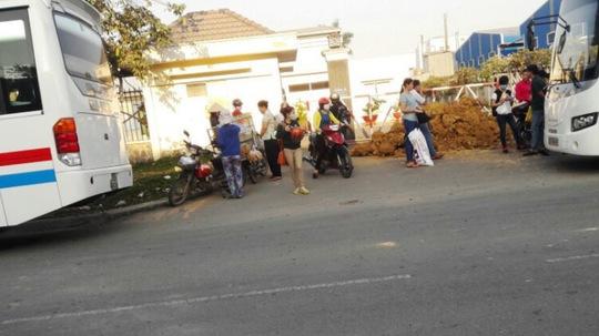 Đống đất, rào ngăn cản lối ra vào của ô tô trước cổng Công ty TNHH Tango Candy (KCN Tân Đức, Long An), ảnh chụp ngày 20-3.
