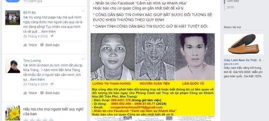Các đối trượng truy nã được đăng lên facebook