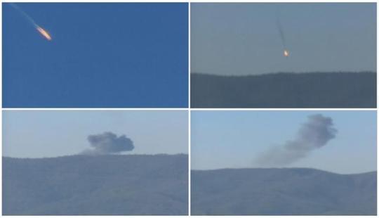 Hình ảnh chiếc máy bay rơi sau khi bị bắn hạ. Ảnh: Reuters