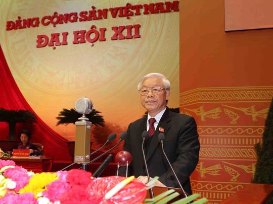 Tổng Bí thư khóa XI Nguyễn Phú Trọng tại phiên khai mạc Đại hội XII