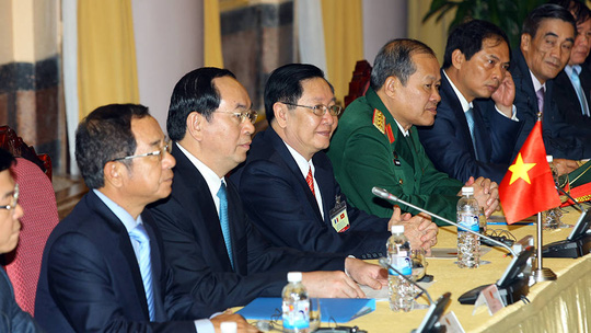 Chủ tịch nước Trần Đại Quang trong cuộc hội đàm với Tổng thống Pháp Francois Hollande
