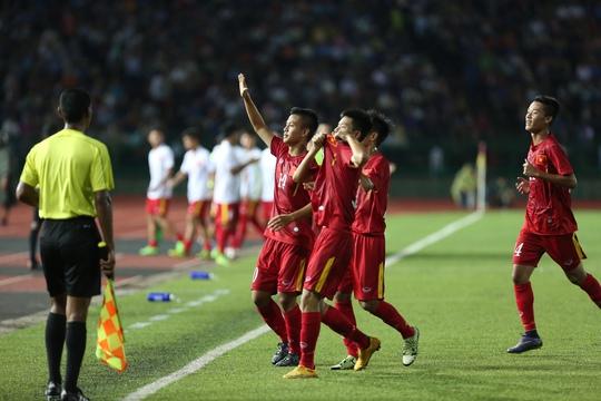U16 Việt Nam vào tranh chung kết với U16 Úc sau khi vượt qua chủ nhà là U16 CampuchiaẢnh: Đức Anh