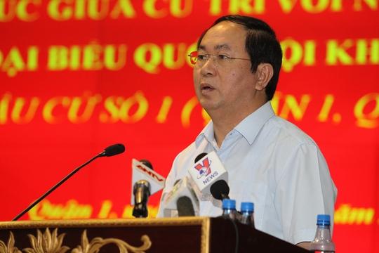 Chủ tịch nước khẳng định sẽ cùng Đoàn Đại biểu Quốc hội TP phối hợp với các bộ ngành Trung ương xây dựng cơ chế đặc thù cho TP HCM (Ảnh: Hoàng Triều)