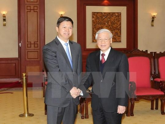 Tổng Bí thư Nguyễn Phú Trọng tiếp ông Tống Đào, Trưởng Ban Liên lạc đối ngoại Trung ương Đảng Cộng sản Trung Quốc, Đặc phái viên của Tổng Bí thư, Chủ tịch nước Trung Quốc Tập Cận Bình - Ảnh: TTXVN