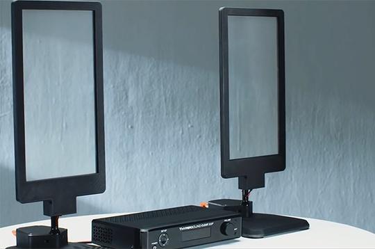 HyperSound Glass độc đáo với thiết kế màng loa trong suốt.
