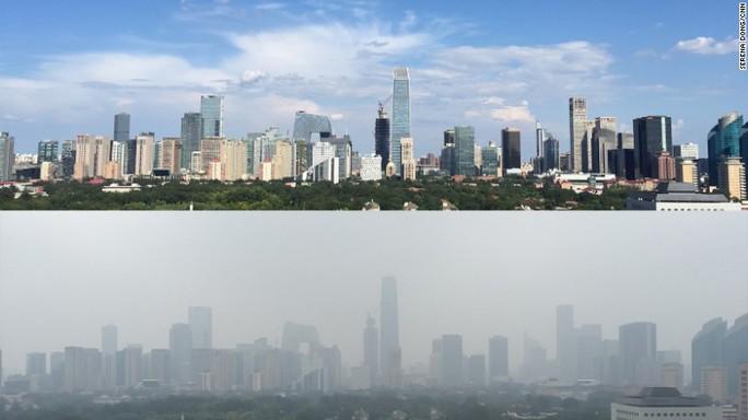 Bầu trời Bắc Kinh trong và sau lễ duyệt binh. Ảnh: CNN
