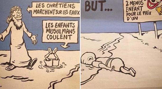 Biếm họa gây phẫn nộ của Charlie Hebdo. Ảnh: Twitter
