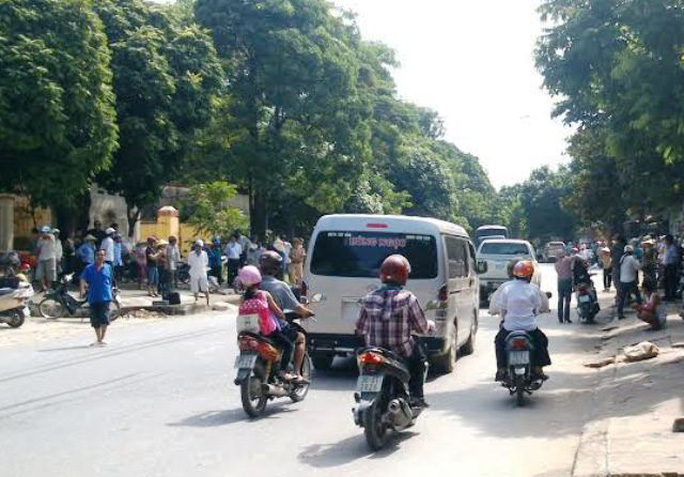Hiện trường nơi xảy ra vụ tai nạn khiến ông Lê Văn Ngoan bị xe tải cán chết