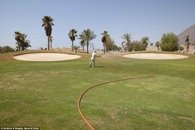 Phần duy nhất còn lành lặn của một sân golf ở Taba sau khi bị lũ lụt tàn phá