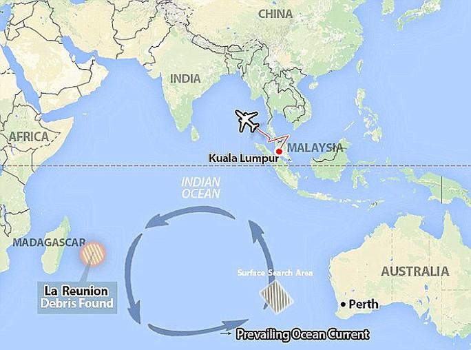 MH370 được tin là rơi ở Nam Ấn Độ Dương. Ảnh: Daily Mail