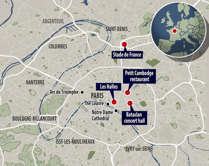 Sơ đồ một số khu vực bị khủng bố. Ảnh: Daily Mail