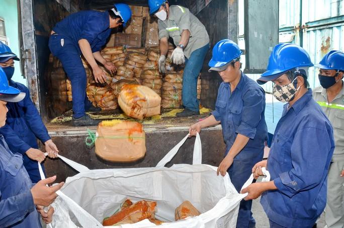 Lực lượng chức năng TP HCM tiêu hủy đường nhập lậu Ảnh: TẤN THẠNH