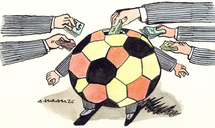 Biếm họa về tình trạng tham nhũng của FIFA Ảnh: Telegraph