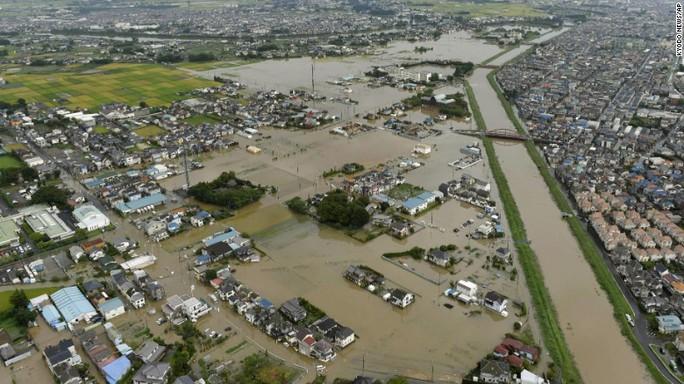 Nước ngập ở các tỉnh Ibaraki và Tochigi của Nhật Bản. Ảnh: AP