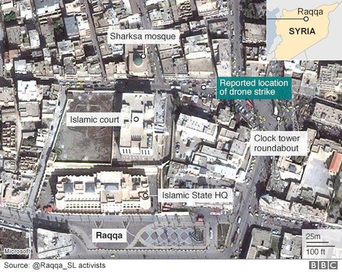 """Bản đồ do nhóm """"Raqqa đang bị giết chết trong im lặng"""" đăng tải. Ảnh: BBC"""