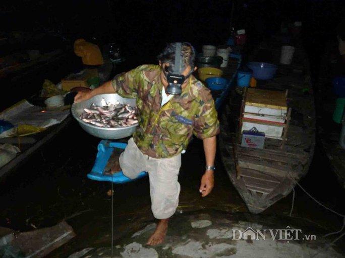 Mang cá từ ghe lên bờ.