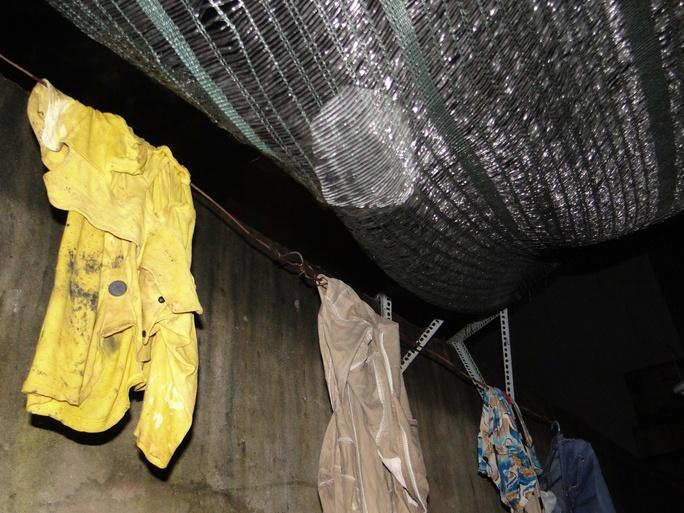 Các viên đá lạnh có kích thước lớn còn vướng lại trên tấm lưới chống nắng cách đây vài ngày Ảnh: Khắc Trường