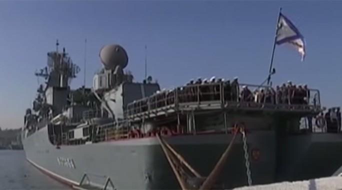 Tàu tuần dương Moskva của Nga sẽ tham gia cuộc tập trận hải quân lớn ở phía đông Địa Trung Hải. Ảnh: RT