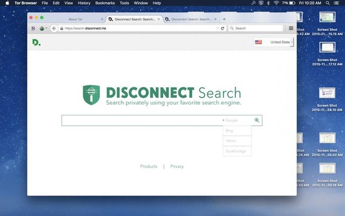Nó cũng có công cụ tra cứu riêng mang tên Disconnect (ngắt kết nối), sử dụng kết quả tìm kiếm từ Google, Bing, Yahoo và DuckDuckGo nhưng không cho phép bên thứ ba theo dõi và lưu lại hoạt động tìm kiếm của người dùng.