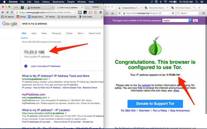 Mục đích của Tor là giúp duyệt web mà không bị lộ danh tính. Với Google Search, người sử dụng dễ dàng biết được địa chỉ IP của thiết bị mà họ đang dùng (ảnh trái). Tuy nhiên, địa chỉ IP thật đã được ẩn đi và thay bằng IP giả khi dùng trình duyệt Tor (ảnh phải).