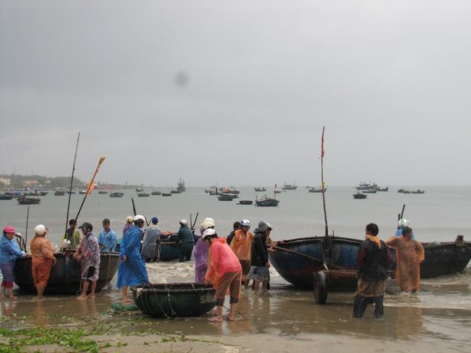Ngư dân đưa thuyền lên bờ tránh bão.