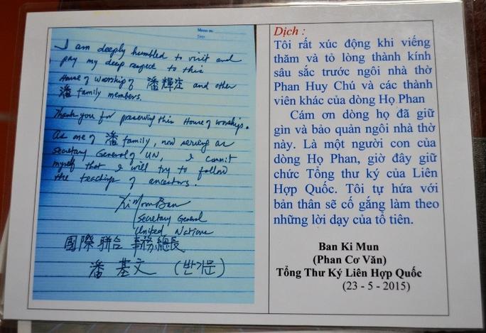 Bút tích và bản dịch của ông Ban Ki-moon được lưu giữ tại nhà thờ dòng họ Phan Huy