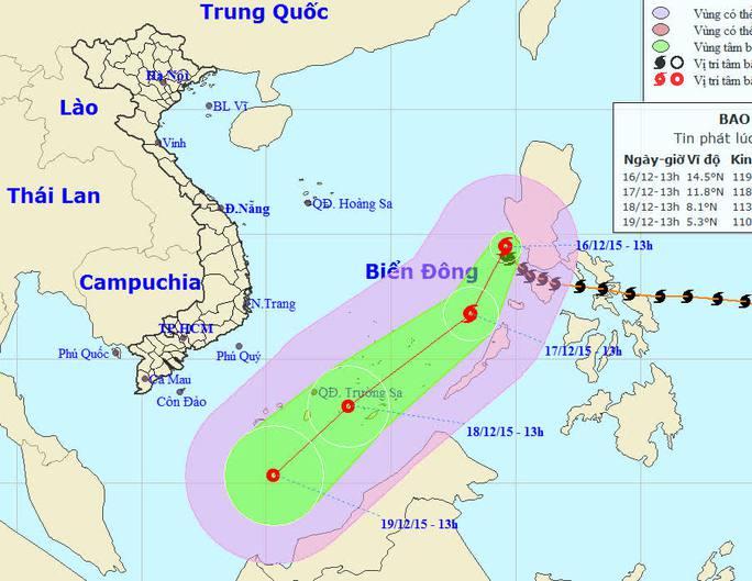 Vị trí và dự báo đường đi của bão Melor - nguồn: Trung tâm Dự báo khí tượng thủy văn Trung ương