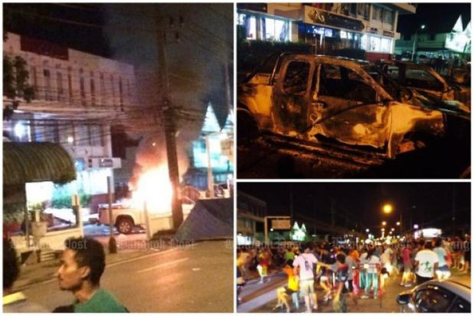 Hình ảnh vụ bạo loạn tại sở cảnh sát. Ảnh: Bangkok Post