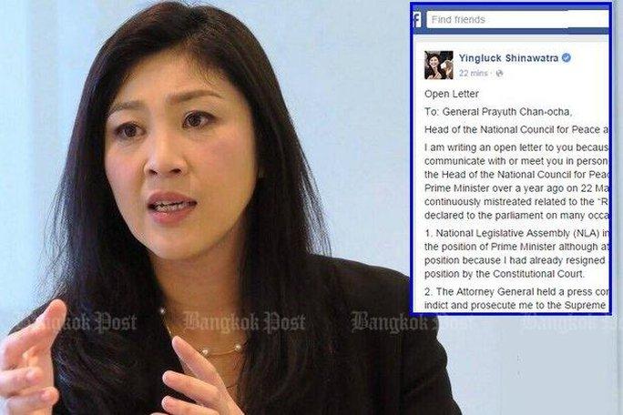 Bà Yingluck gửi thư đến Thủ tướng Prayuth Chan-ocha trên mạng xã hội. Ảnh: Bangkok Post