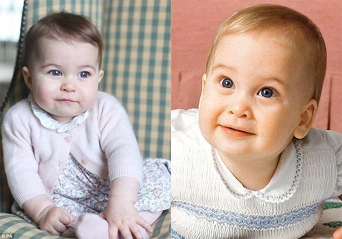 Tiểu công chúa Charlotte (trái) thừa hưởng đôi mắt xanh rất đẹp của Hoàng tử William (phải). Ảnh: Daily Mail