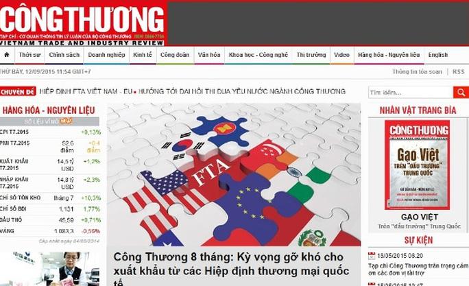 Tạp chí Công Thương, nơi bà Lê Phương Dung và ông Nguyễn Hồng Lực công tác
