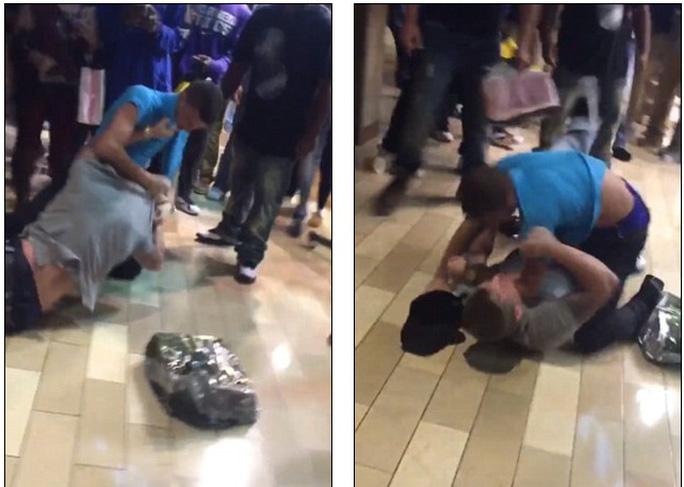 2 người đàn ông vật nhau trong một trung tâm mua sắm ở Louisville bang Kentucky