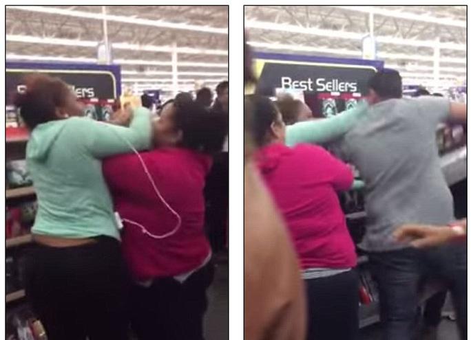 2 phụ nữ đánh nhau giành một chiếc ti vi giảm giá.