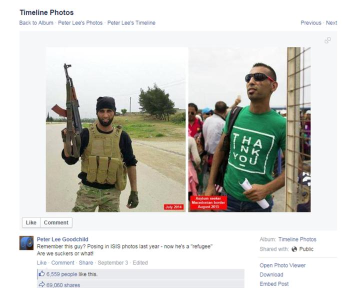 Tấm ảnh cảnh báo chiến binh IS được xác nhận là giả. Ảnh: Facebook