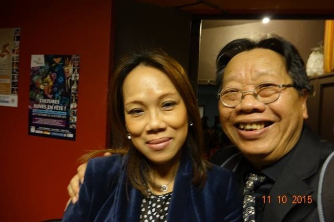 GS-TS Trần Quang Hải và giáo viên dạy nhạc Hà Trần, con gái cố nghệ sĩ Trần Văn Trạch tại Pháp (ngày 11-10-15 - ảnh Thanh Hiệp)