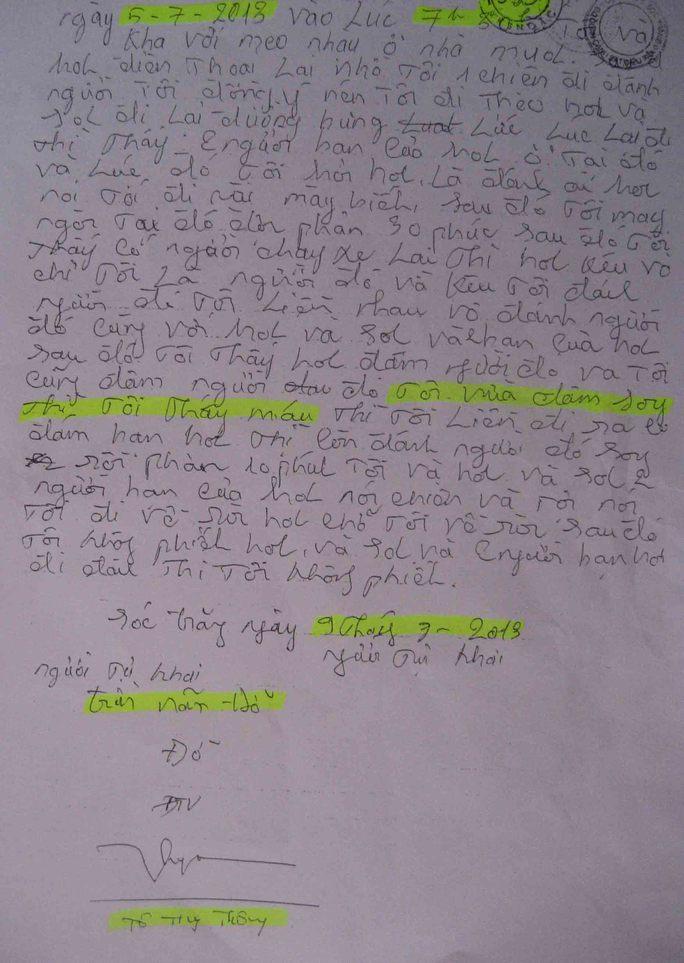 Anh Đỡ đã viết lời nhận tội trước 4 ngày mà 2 nhân chứng cho rằng chứng kiến Quân và Hưng dùng nhục hình