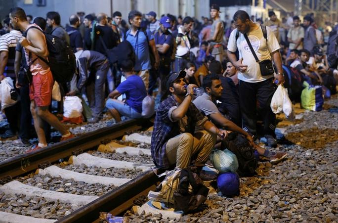 Người di cư chờ đợi tại ga xe lửa ở Tovarnik- Croatia hôm 17-9. Ảnh: REUTERS