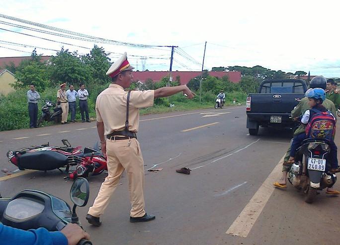 Hiện trường vụ tai nạn giao thông làm chị Mai tử vong